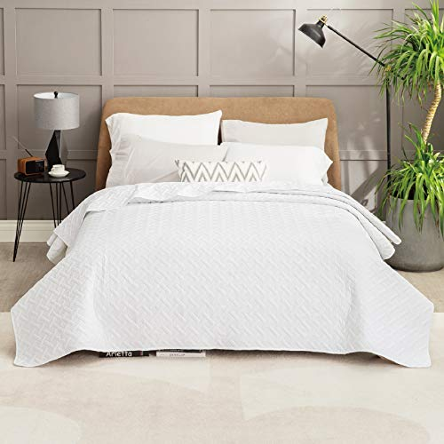 Bedsure Summer Bedspread Bed 150 Pure White - Spring and Year Round Bouti Reverisible Bedspread, Fine Bedspread 250x280cm