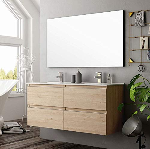 Aquore |  Bathroom Cabinet with Sink and Mirror |  Bathroom Cabinet Model Sundee 2 Drawers Suspended |  Bathroom Furniture |  Different Color Finishes |  Various Measurements (Bamboo, 80 cm)