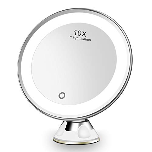 FASCINATE Makeup Mirror with LED Light 10X Magnification Shaving Magnification with Light, Cosmetic LED Magnifying Mirror with 10X Magnification and Powerful Suction Cup, 360 ° Rotation