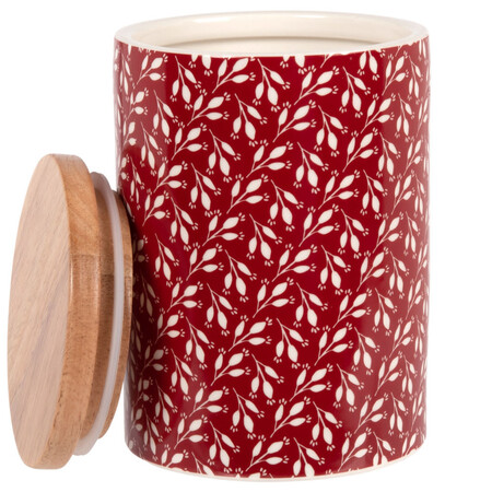 Stoneware And Red Bamboo Pot With White Leaf Decorative Motifs 0 75 L 1000 12 23 208262 2