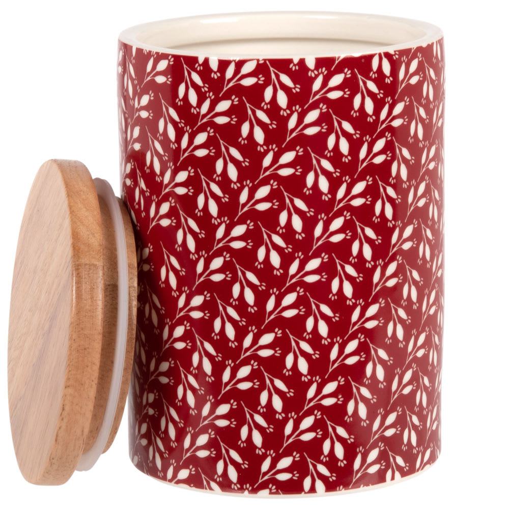 Red bamboo and stoneware pot