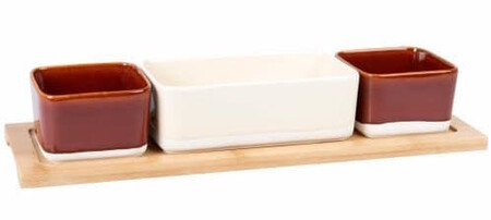 Bamboo Snack Tray With 3 Brick Beige And White Earthenware Bowls 1000 5 17 208 051 1