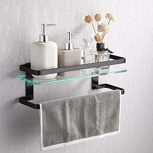 Umi.  by Amazon Rectangular Bathroom Shelf Shower Shelf Extra Thick Tempered Glass 8mm with Towel Bar Organizer Wall Mount Matte Black Aluminum, A4127A-BK