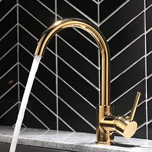 QD Golden kitchen mixer tap for single-lever kitchen with extendable shower