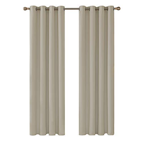 Deconovo Blackout Curtains for Living Room Bedroom Hotel Thermal Insulation Thick Thick Fabrics with Eyelets 2 Panels 140 x 260 cm Dark Beige