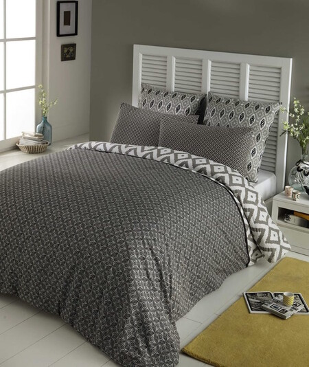Cotton Bed Set 220 240 Cm Gray 1000 5 2 156745 1