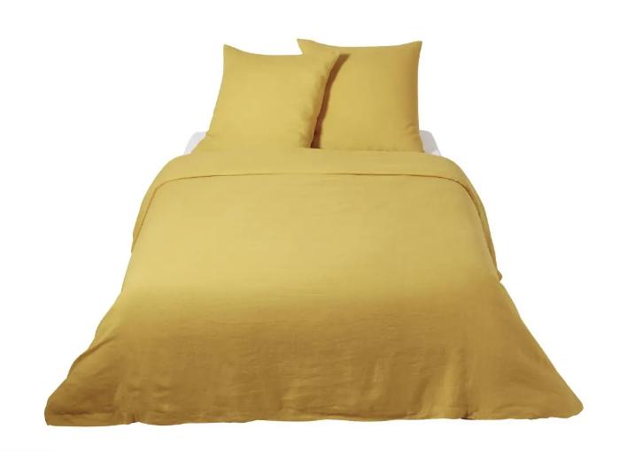 Mustard Yellow Washed Linen Bedding Set
