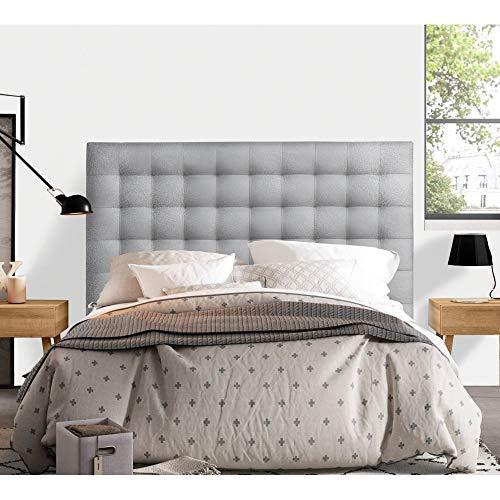 Top bedrooms - Van Gogh upholstered headboard - Silver Leatherette, 165x125x8 cm