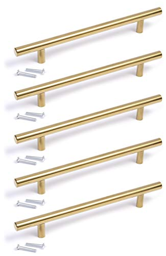 T-shaped handle with gold finish, for kitchen, bedroom, bathroom
