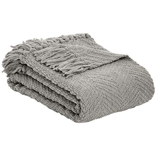 AmazonBasics Fringed Knit Blanket - Light Gray, 130 x 150 cm