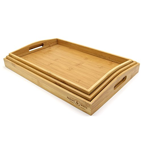 Set of 3 Bamboo Trays |  Wooden Serving Tea & Breakfast Platter With Handles M&W