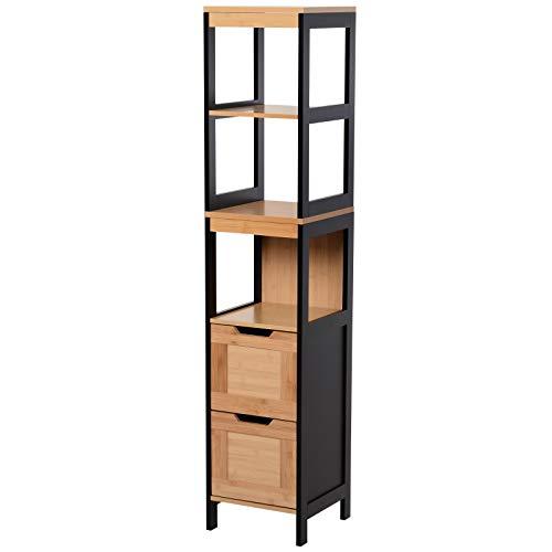 Kleankin Auxiliary Cabinet for Bathroom Storage Tall Cabinet for Bathroom with Shelves and Drawers 30x30x144.3 cm