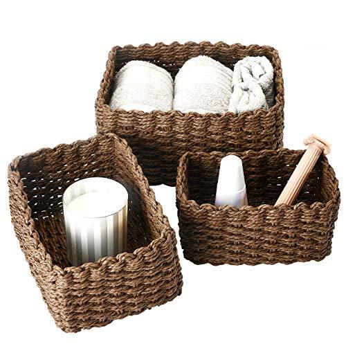 La Jolie Muse Storage Basket, Storage Box Set, Bathroom Towel Basket, Bathroom Organizer Baskets, Recycled Paper Rope Storage Box, Chocolate, Set 3