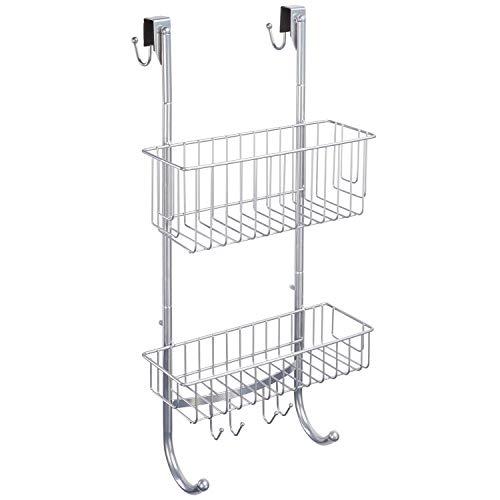Chrome Hanging Shower Shelf - 2X Shower Shelf Levels -59.3x22.6x11cm- Stainless Steel (Powder Coating) - Undrilled Shower Shelf - Free: 2 Sticky Hooks! ...