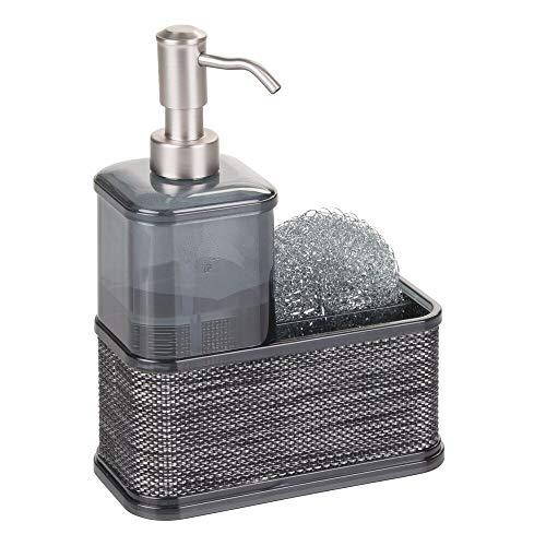 mDesign refillable soap dispenser - Soap dispenser made of durable plastic - With scrubber holder - Color: gray / black