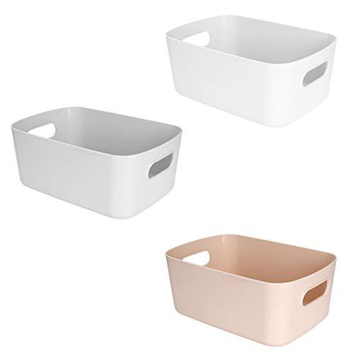 MaoXinTek Plastic Pantry Storage Basket, Hamper Organizer, Multi-Purpose Storage Small Container Bucket for Kitchen, Bathroom, Cosmetics (3 Pack)