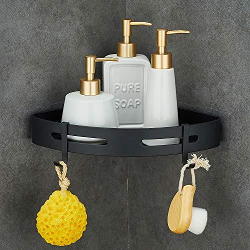 Gricol Non-Drilled Aeronautical Aluminum Shower Shelf Self-Adhesive Antioxidant Shelf for Bathroom Items (Black)