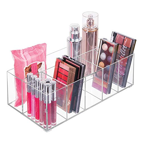 mDesign Makeup Organizer - Transparent box with 6 compartments - Ideal for storing makeup, cosmetics and beauty products - Transparent plastic