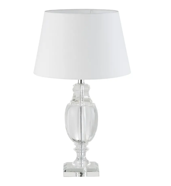 Glass lamp and white lampshade