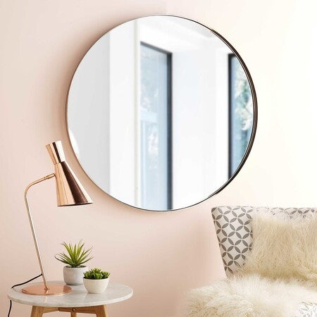 Coppery Metal Round Mirror D 90 1000 9 34 164 977 5