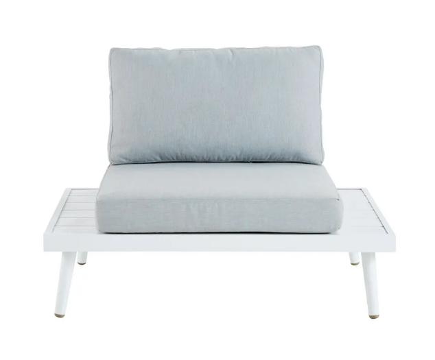 Gray braided resin garden armchair
