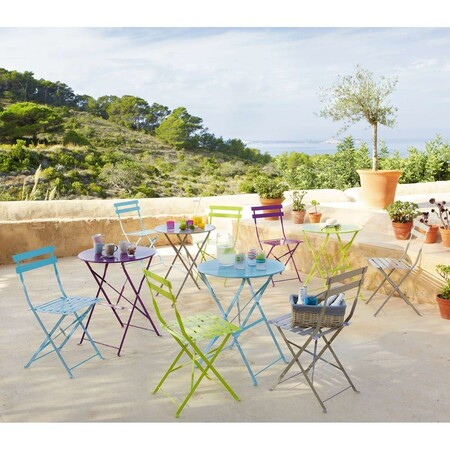 2 Turquoise Metal Folding Garden Chairs 1000 5 14 122 235 5