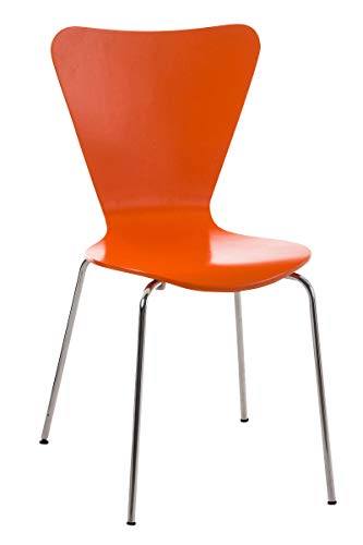 Calisto Stackable Visitor Chair I Stackable Dining Chair & Wooden Seat I Kitchen Chair with Metal Base I Color :, Color: Orange