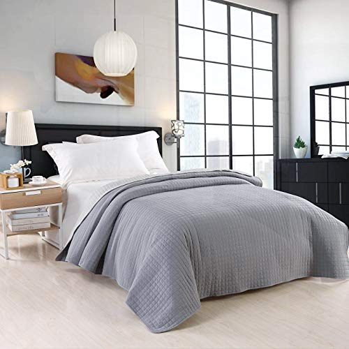 WOLTU Bedspread for Beds Bedspread Blanket Multipurpose Patchwork Quilt, Reversible Checkered Design, Quilted Duvet and Double Bed 220x240 cm Gray + Light Gray BWP5008dgrM02
