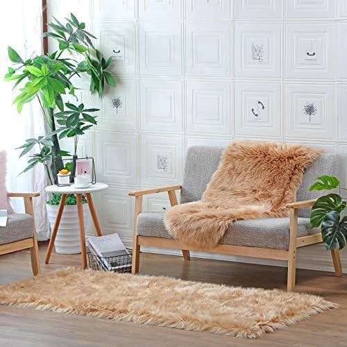 DAOXU Faux Fur, Cozy Feel Like Real, Washable Faux Fur Rug for Sofa or Bedroom (80 x 180cm, Brown)