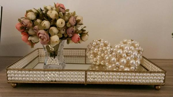 Mirrored tray with pearl application