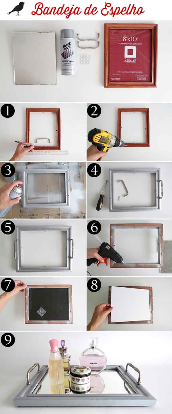 step by step to make mirrored tray at home