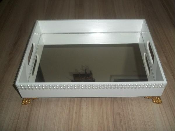 Mirrored white MDF tray with details