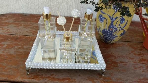 mirrored tray with pearl details around