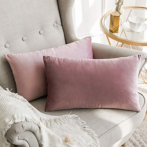 MIULEE Velvet Cushion Cover Sofa Throw Pillow Case Cushion Decor Pillow Cover Case Decorative for Living Room 30x 50cm 12 x 20 Inch 2 Piece Pink Purple