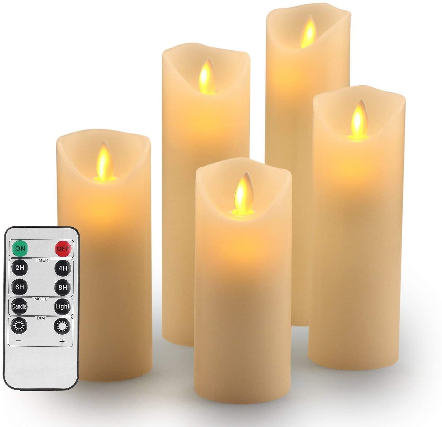 "Flameless Candles - Flameless Flickering Decorative Candles-Flameless Candles set: 5.5"", 6"", 6.5"", 7""and 8"" Classic Real Wax Pillar with Flame & LED Movement 10 Remote Control Keys - 2/4/6/8 Hour Timer"