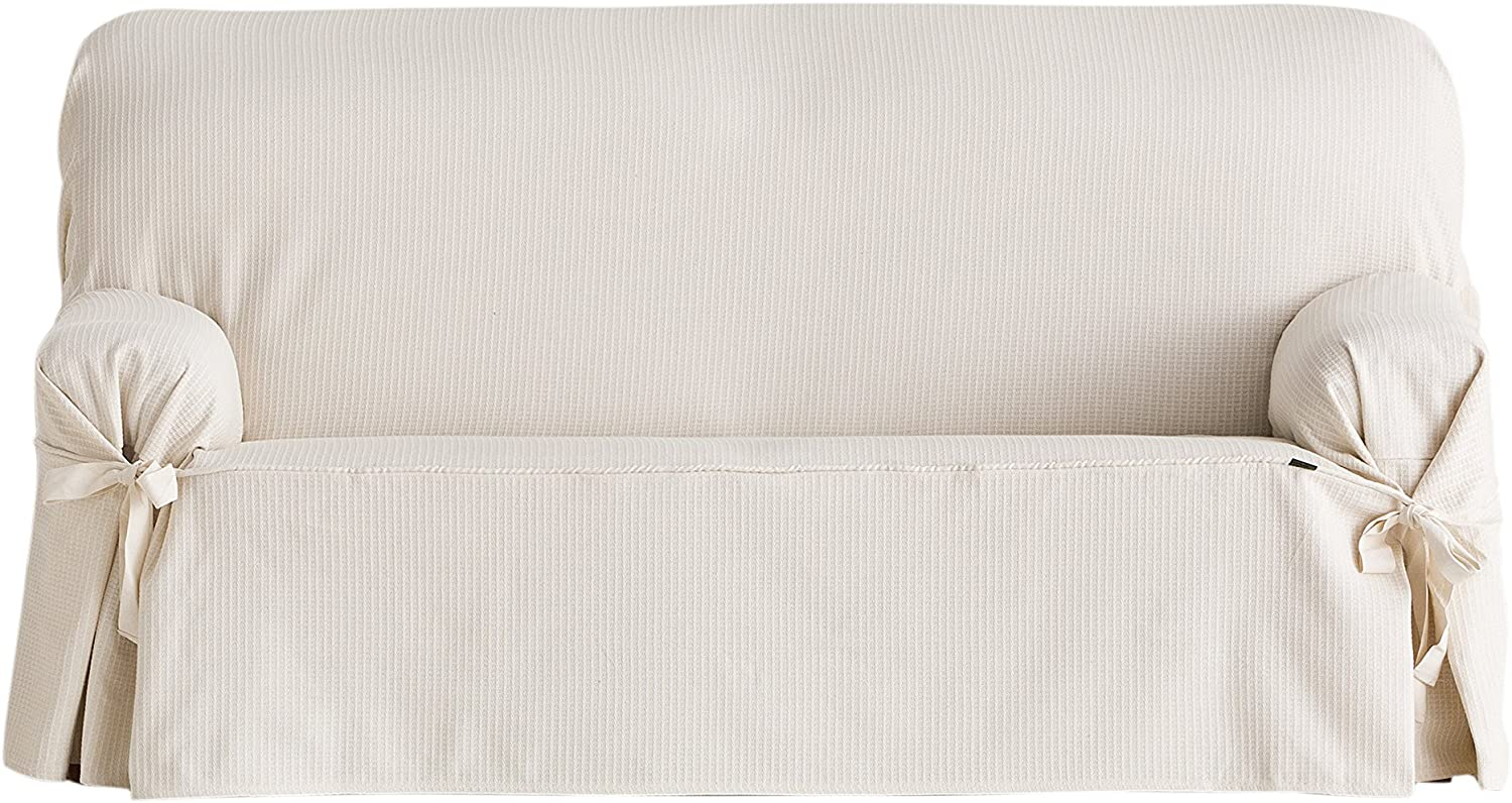 Eysa Bianca - Sofa cover with front and back ties, 100% cotton, Ecru, Three-seater