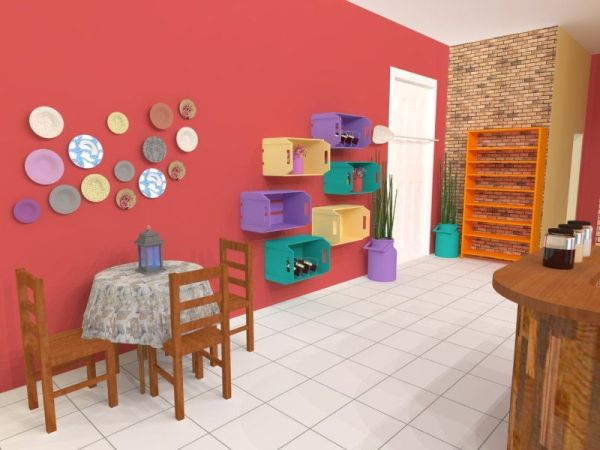 colorful crates in the kitchen