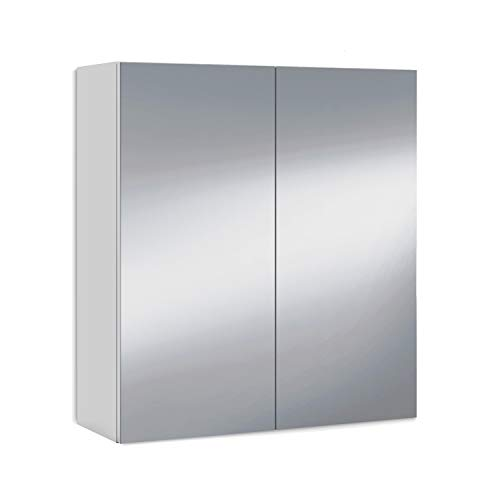 ARKITMOBEL 305083BO - Two-Door Dressing Room Cabinet for Bathroom, Module with Mirror and Shelves, Finished in Glossy White Color, Measurements: 60 cm (Length) x 65 cm (Height) x 21 cm (Depth)