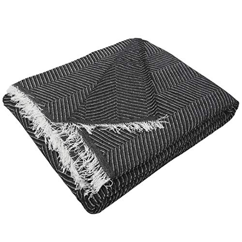 MERCURY TEXTIL- Multipurpose Sofa Bedspread, Foulard Blanket, Plaid for Bed, Quilt Cover, Jarapas, Comfortable and Soft.  Polyester Cotton (230 x 260cm, Herringbone Black White)