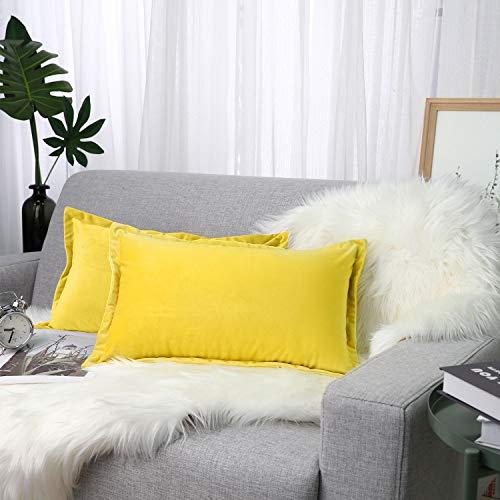 """Lewondr Velvet Pillowcase, [2 PZS] 12"""" x 20"""" (30 x 50 cm) Modern Solid Color Soft Protective Pillow Cushion Cover for Sofa Bed Home Decor, Car - Lemon Yellow"""