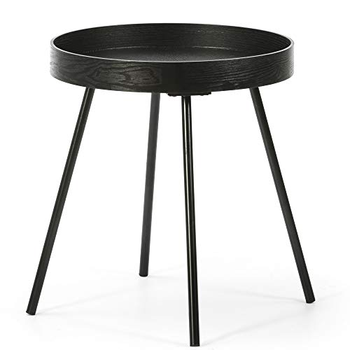 VS Sale-stock Side Table Sentora Round Coffee Table with Black Wood Top and Matte Black Metal Legs / DIAMETER: 40 cm