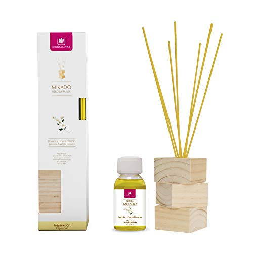 CRYSTALS.  Natural Wood air freshener.  Complete Kit (Rods, Wood Base and Essence).  Rod Diffuser.  More than 12 weeks.  100ml.  Aroma (Jasmine) (Unit)