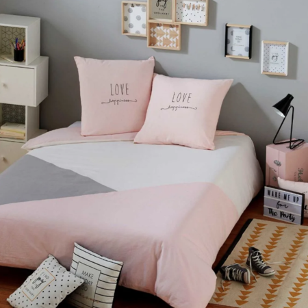 Gray And Pink Cotton Bedding Set