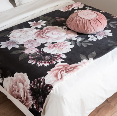 Pink And Black Cotton Bedspread With Floral Print