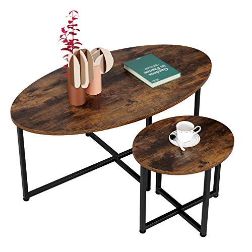 Homfa 2 Oval Side Tables Coffee Tables Coffee Tables for Living Room Side Table Vintage Sofa