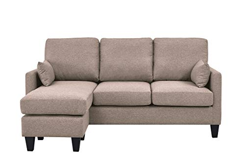 Astan Hogar AH-AR40700AR Lena-3 Seater Sofa Bed with Chaise Longe, Upholstered Fabric, Sand,