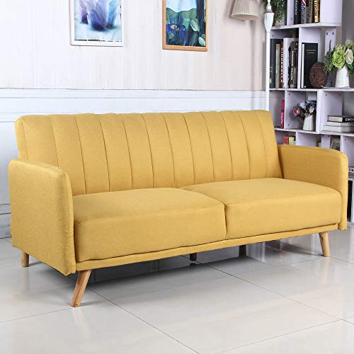 Mustard Clic Clac 3 Seater Sofa Bed upholstered with 100% Polyester Fabric, Wooden Legs
