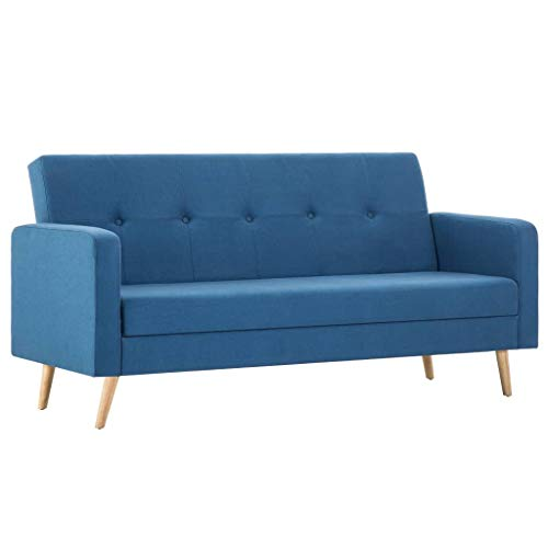 vidaXL Blue Fabric Sofa Bed Furniture Armchair Bed Base Seat Chair Living Room Home