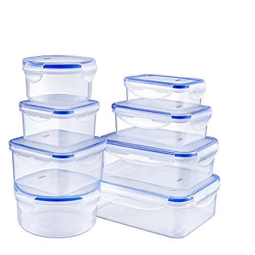 DEIK Lunch Boxes, Food Containers, Airtight Container Set, 8 Pieces, BPA Free, Dishwasher Safe, Freezer Safe, Assorted Sizes, Transparent Color