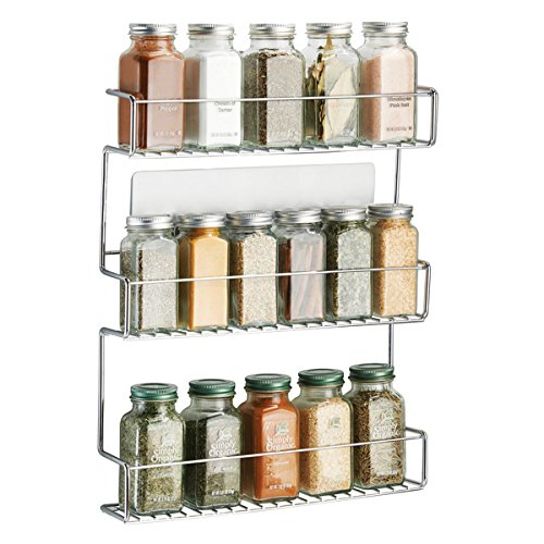 mDesign AFFIXX Self Adhesive Kitchen Spice Rack - Metal Spice Racks with Three Shelves - Handy Silver Color Spice Organizer - Metal